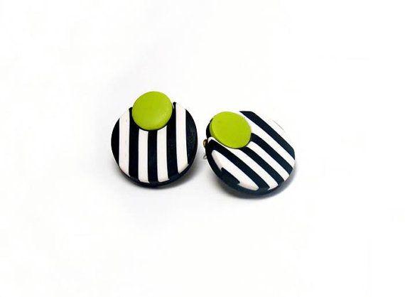 Wasabi black and white post earrings by PeekABooCornerShop on Etsy, $22.50