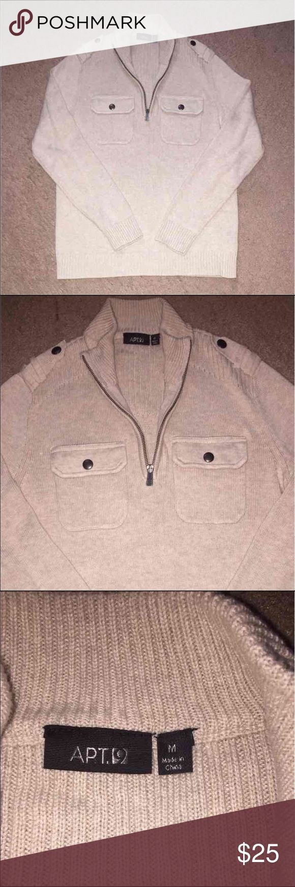 Never Worn Cream Knit Sweater for Men Purchased from Kohls. Size medium. Snug fit, good quality. Apt. 9 Sweaters