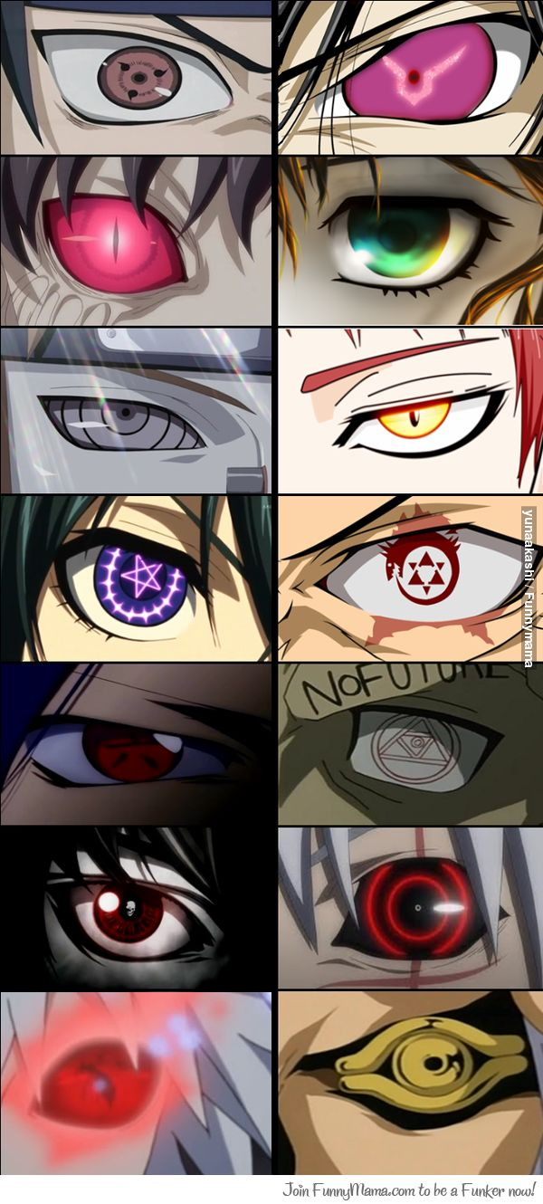 How many anime eyes can you name? I see; 1 Naruto, 2 Code Geass, 3-4 so familiar! 5 Naruto, 6 ?, 7 Kuroshitsuji, 8 Fullmetal Alchemist, 9-11 no clue 12 Dgrayman, 13 Tegami Batchi & 14 Yugioh)
