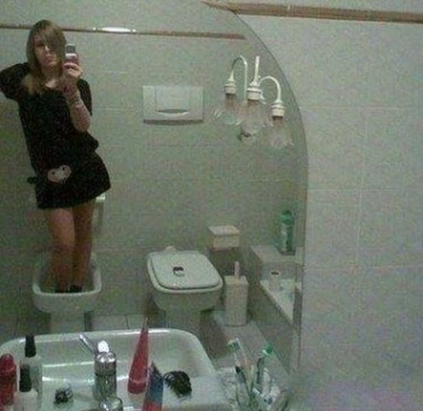 Girl Takes Selfie Standing in Toilet Bowl ---- Best funny, pictures, humor, jokes, hilarious, quotes