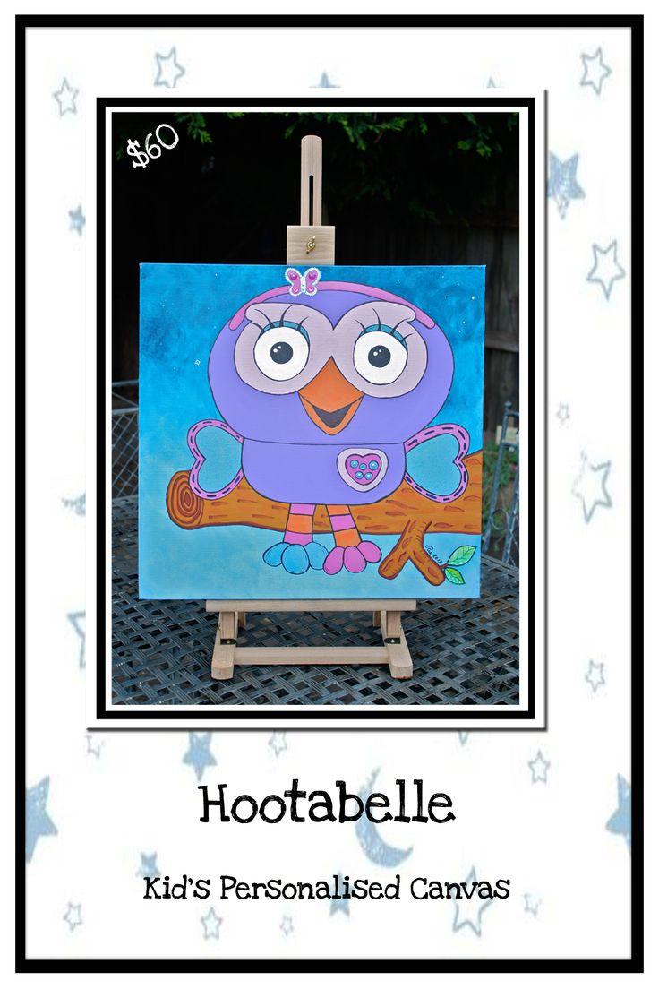 Hootabelle:  Personalised Kid's Art.  Acrylic on canvas.