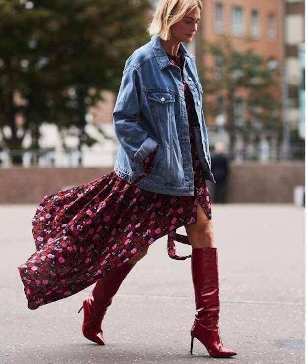 Streetstyle en la Semana de la moda de Londres 2017: fotos de los looks - Look con botas rojas en la Semana de la Moda de Londres