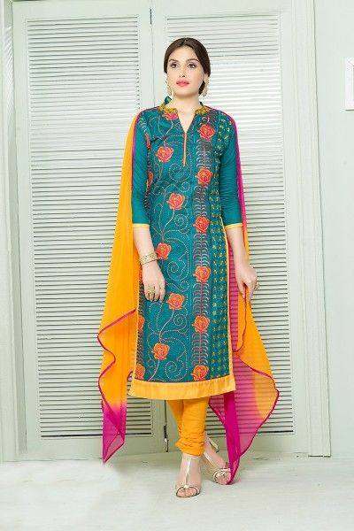 OLIVE GREEN & MULTI EMBROIDERED COTTON STYLISH SUIT #SalwarSuit #BuySalwarSuitsOnline #DressesOnlineShopping #SalwarSuitsOnlineShopping http://www.thankar.com/store/salwar-suit/