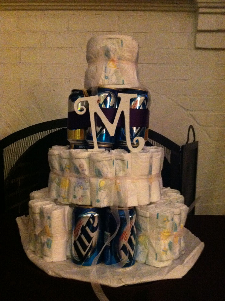 Beer diaper cake coed baby shower impressedevenmyself for Money bathroom decor