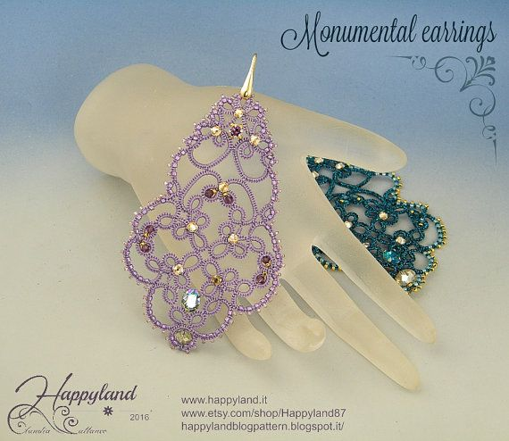 Monumental  tatting earrings tutorial van Happyland87 op Etsy