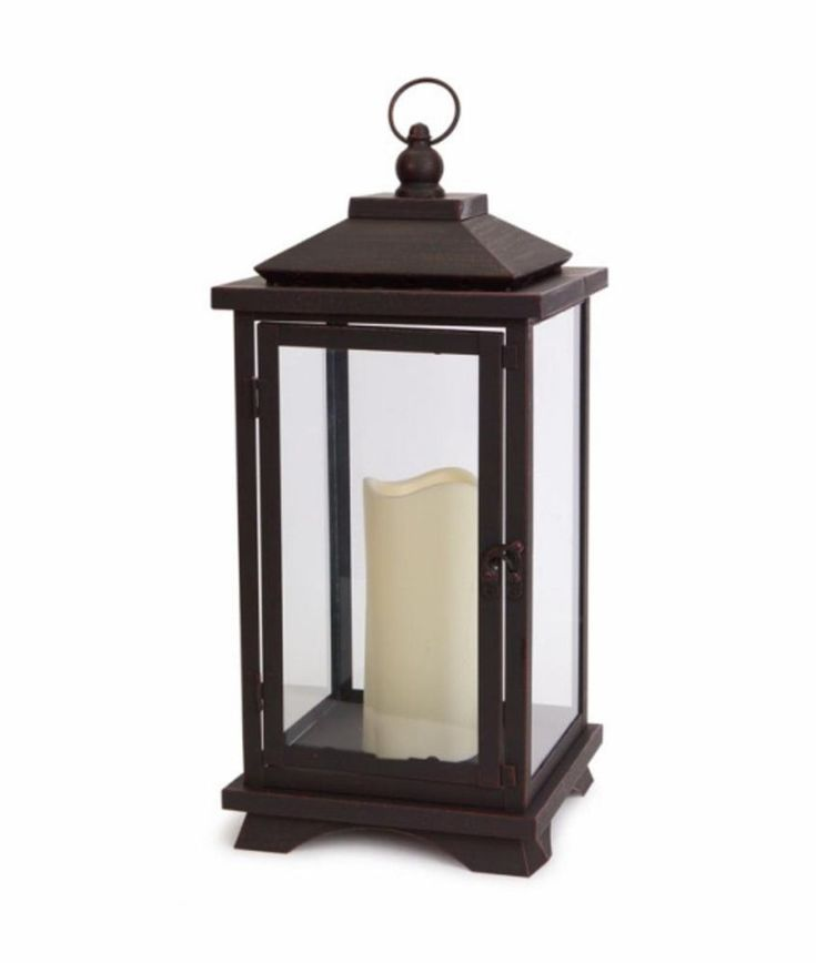 """""""17.75"""" Contemporary Espresso Brown Lantern with LED Flameless Pillar Candle #Melrose"""