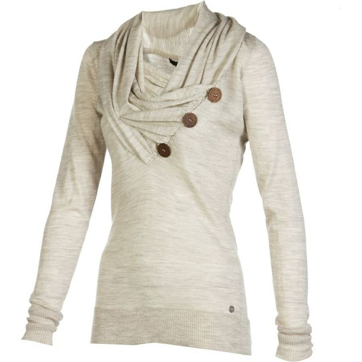 Looks cozy... I like the button detail and gathered neck