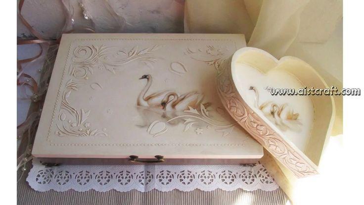 Декупаж свадебной шкатулки и подноса с рисовой бумагой , пастой, шаблоно...