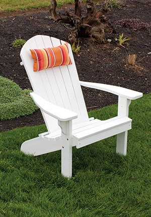 Pillow - Comfortable and classically styled Polywood Fan Back Adirondack Chair - available in 12 different colors.  Pair with a matching head pillow and polywood ottoman for a relaxing outdoor experience.  Proudly made in the USA at Furniture Barn USA:    http://furniturebarnusa.com/outdoor-polywood-adirondack-chairs-furniture/108-polywood-fan-back-adirondack-chair.html
