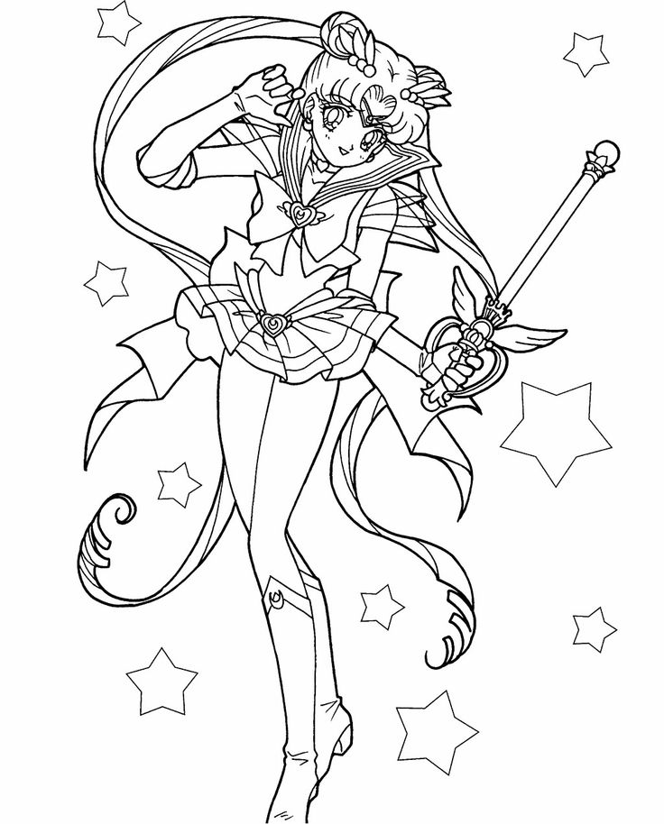 sailor moon carries a magic wand coloring page for kids