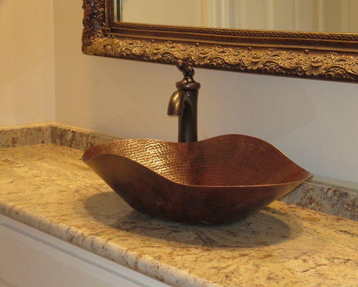 Copper Vessel Sink And Typhoon Bordeaux Granite Jj