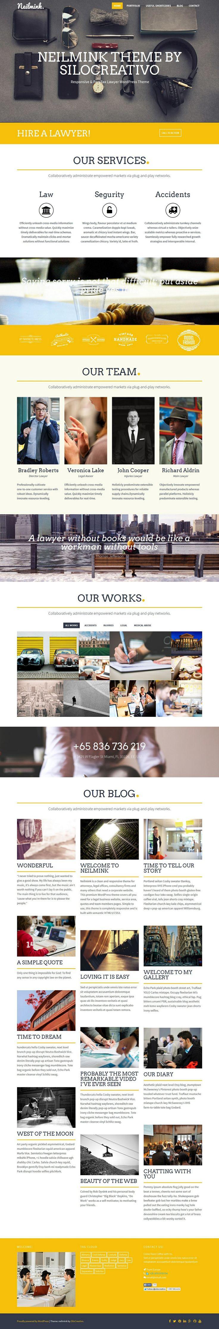 Neilmink – Responsive & Parallax Lawyer WordPress Theme #wordpress #template