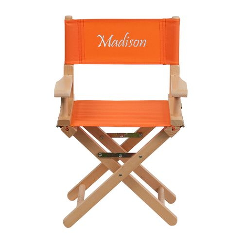 Flash Furniture Embroidered Kid Size Directors Chair in Orange