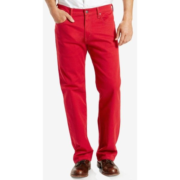 Levi's 569 Loose Straight Fit Jeans ($50) ❤ liked on Polyvore featuring men's fashion, men's clothing, men's jeans, scooter red, mens loose jeans, mens low rise jeans, mens relaxed fit jeans, mens low rise straight leg jeans and mens red jeans