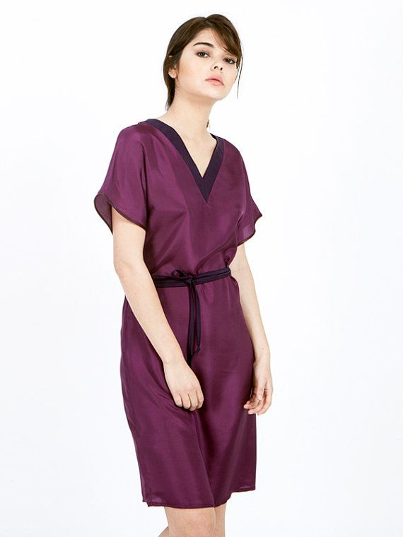 SALE Purple dress - Marsala Dress - silk dress - tie dress - kimono dress - short sleeve dress - oversized dress - petite dresses