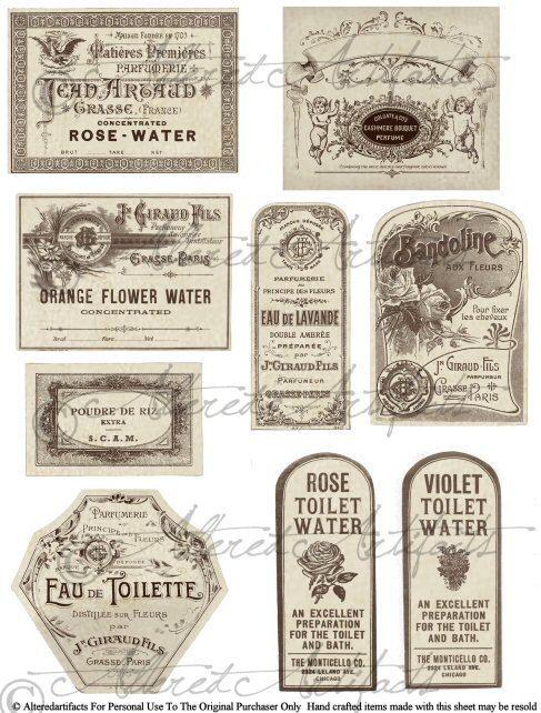 Étiquettes imprimables bouteille étiquette imprimable parfum Antique étiquette Collage numérique Télécharger fiche de parfum Français Vintage imprimables