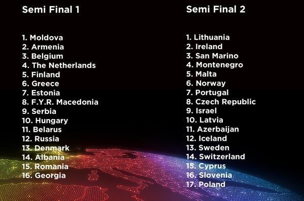 Eurovision 2015 Semi-Finals Running Order Announced