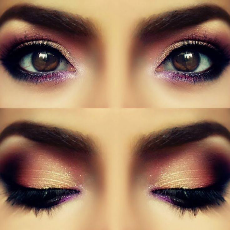 This rosy purple smokey eye is super flattering on dark brown eyes. This look is perfect for date night.