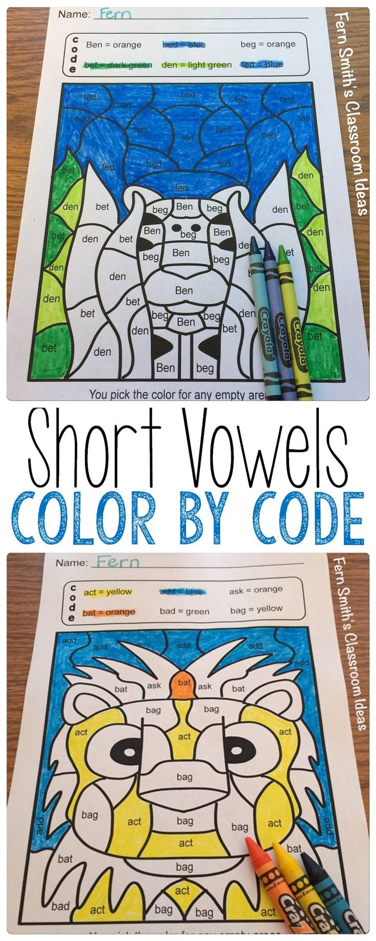 Your students will adore these twenty-five Short Vowel Words Color Your Answers worksheets while learning and reviewing important vowel and reading skills at the same time! You will love the no prep, print and go Color By Code Worksheets with Answer Keys Included. This reading resource includes: * Five Short a Pages * Five Short e Pages * Five Short i Pages * Five Short o Pages * Five Short u Pages * Twenty-Five Answer Keys