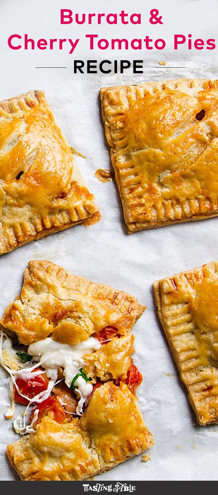 Use up your excess summer tomatoes in these flaky, cheesy tomato hand pies.