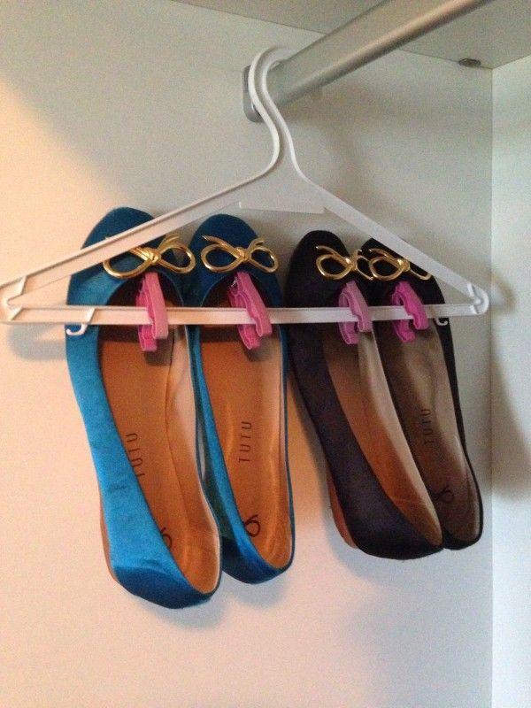 Faça você mesmo: Cabideiro para Sapatilhas com pregador de roupa