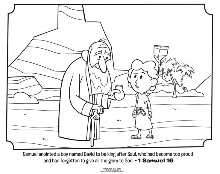 Download this free coloring page of Samuel anointing David to be the next king of Israel in 1 Samuel. From What's in the Bible?....
