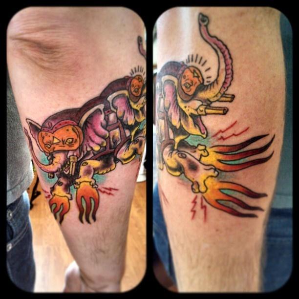 Pin War Elephant Tatto...