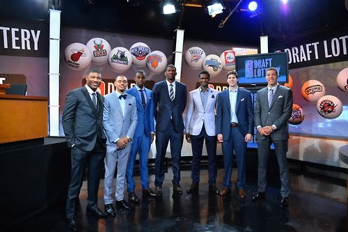 NBA Draft Prospects Marcus Smart, Tyler Ennis, Andrew Wiggins, Joel Embiid, Noah Vonleh, Doug McDermott and Aaron Gordon poses for a photo during to the 2014 NBA Draft Lottery on May 20, 2014 at the ABC News' 'Good Morning America' Times Square Studio in New York City.   (Photo by Jesse D. Garrabrant/NBAE via Getty Images)