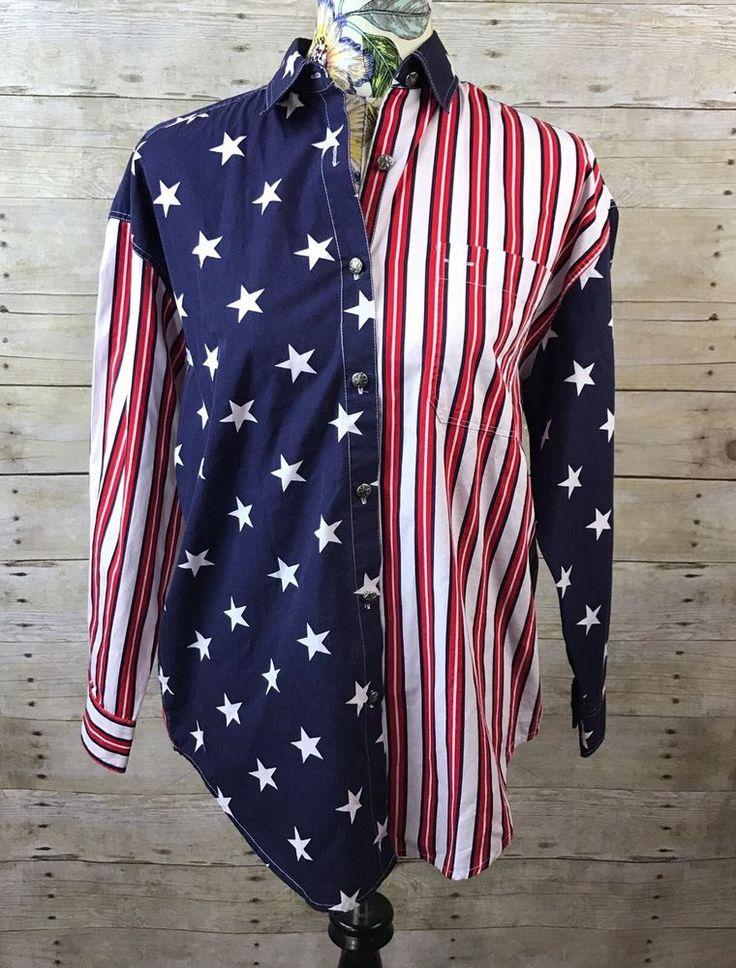 Women's Vtg Bechamel Casual Button Down Shirt Small American Flag Stars Stripes  | eBay