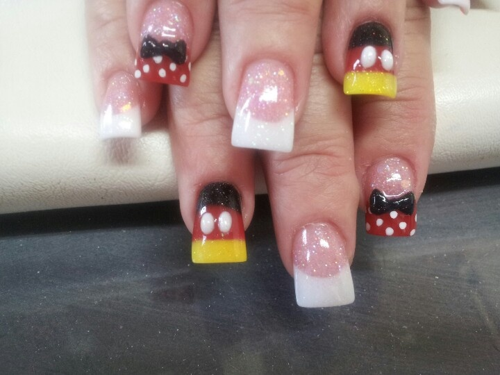 Mickey Mouse 3D nails.. Tammy Taylor Nail product, all free hand by me : )