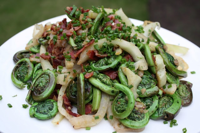 Fiddleheads & Fennel with Bacon & Chives