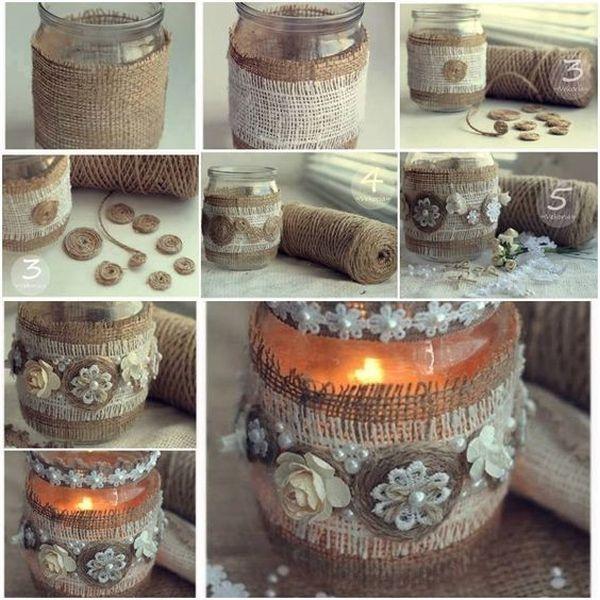 Cu accesorii precum margele, panglici colorate sau bucati de dantela, putem transforma borcanele in obiecte decorative minunate