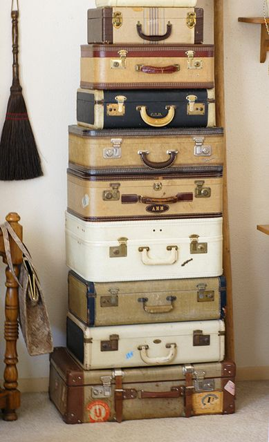 Stack of vintage luggage.  Where have they all been?  Just wondering....