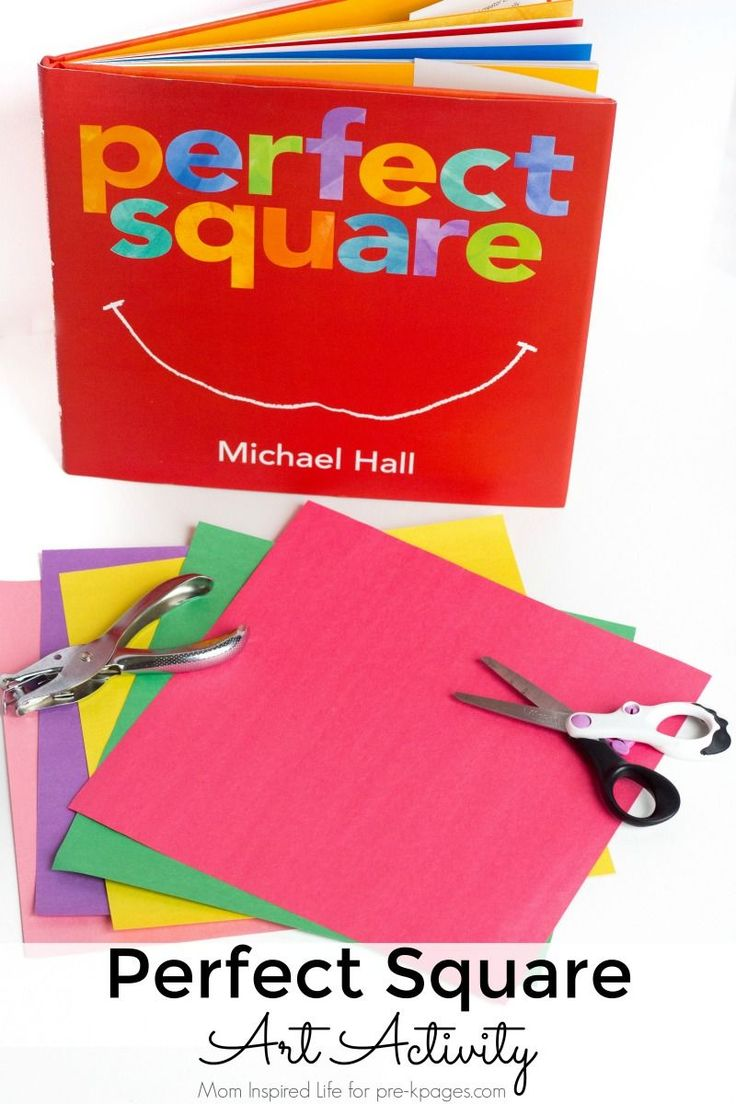 Perfect Square Shapes Art - Pre-K Pages. A fun art activity to go along with the book Perfect Square. Your preschool kids will love reading the book, then doing this fun shape activity at home or school!