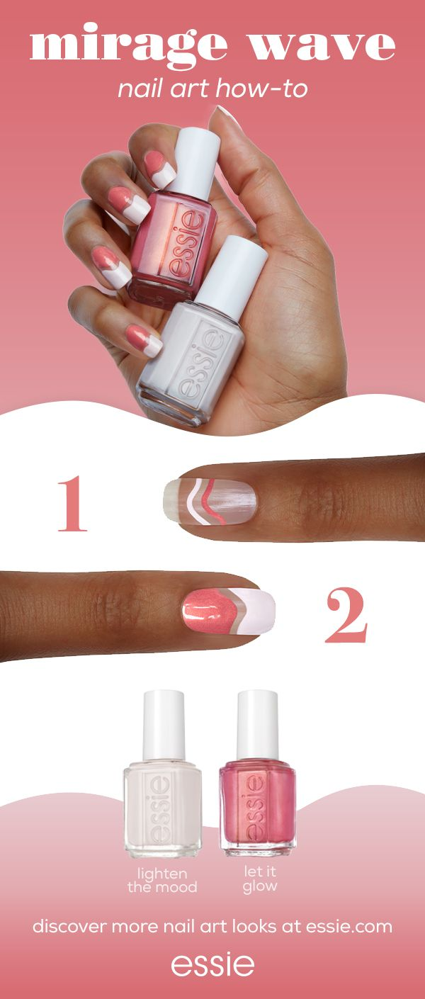'let it glow' and get lost in our essie desert mirage collection. this collection of cream and pearl essie colors add fierce fire for a look that's relentlessly cool. try a DIY wave mani inspired by the optical illusions of the desert using these hot pink shimmer and cream nail colors. with a touch of negative space, this hot nail art packs a punch that's perfectly on-trend. discover more at essie.com.
