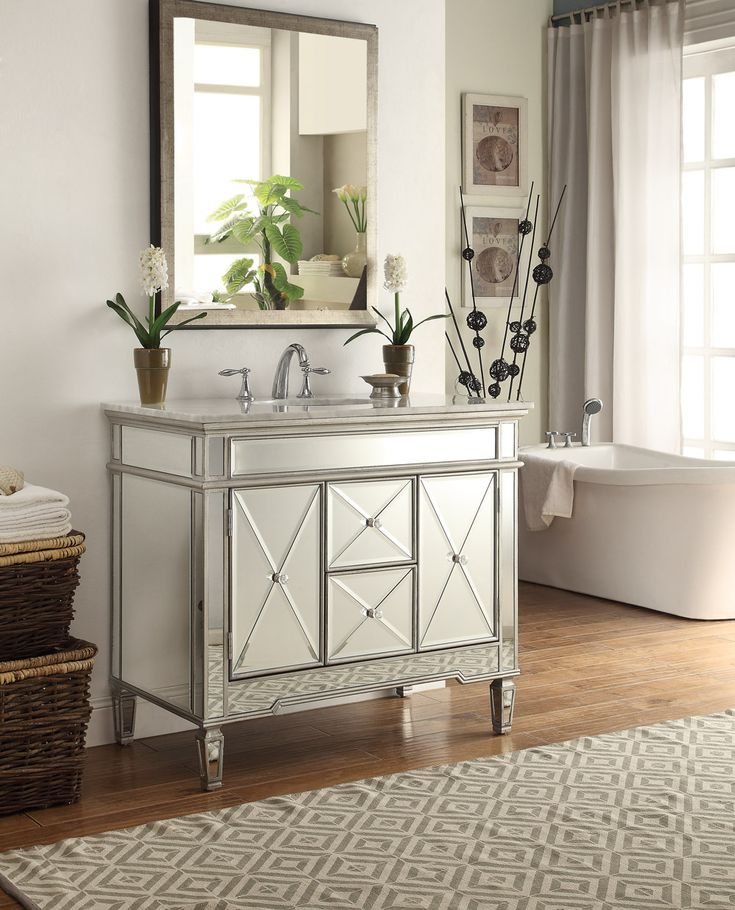 The Mirrored Bathroom Vanities Collection Of Regency Styled Furniture Casts A Sophisticated Nod To Any