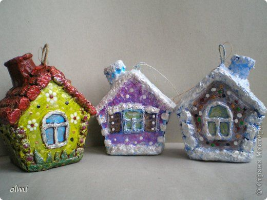 Папье-маше - Елочные домушки и прочие игрушки