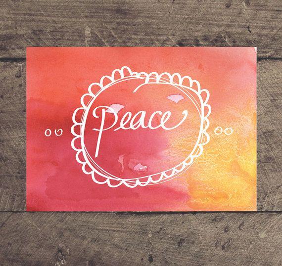 Printable Christmas Print PEACE 5 x 7 print. Instant by louandboo