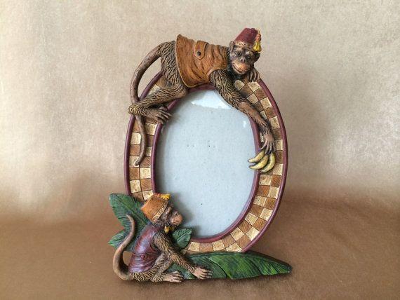 Monkey Photo Frame, Fez Monkeys, Vintage Monkey, Resin Cast, Tropical Home Decor, Oval Photo Frame, Monkey with Banana, Fun Monkey Stuff