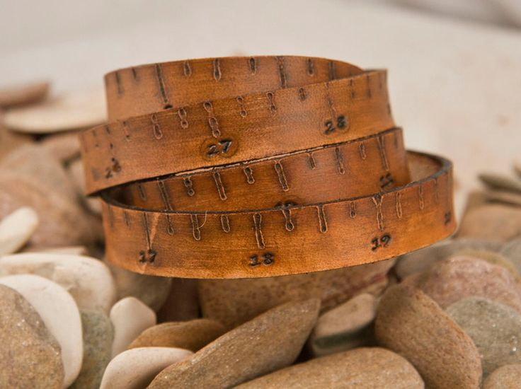 Measure Leather Tape Measure bracelet, in inches. via Etsy.
