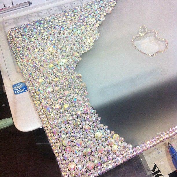 Diy Macbook Cover : Rhinestones on macbook case diy projects pinterest