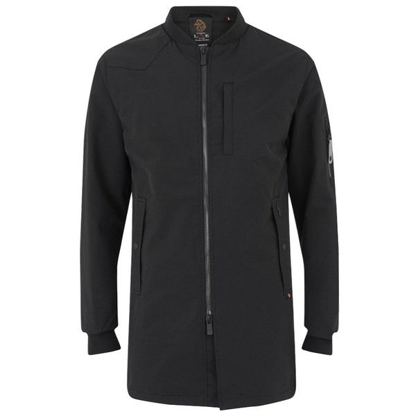 Luke Men's Nation Long Length Jacket - Jet Black ($82) ❤ liked on Polyvore featuring men's fashion, men's clothing, men's outerwear, men's jackets, black, mens long parka, mens fur lined parka, mens bomber jacket, mens zip up jackets and mens sherpa lined jacket