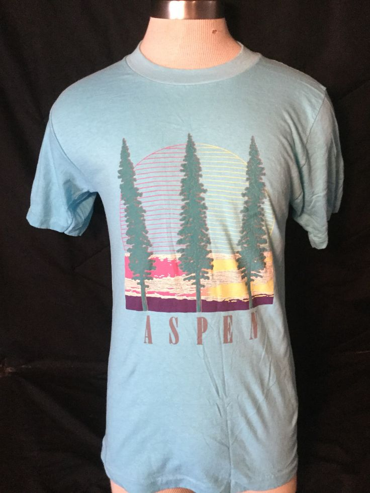 Vintage 1980's Tourist T-Shirt Aspen Ski Mountains T-shirt  Made in USA by 413productions on Etsy