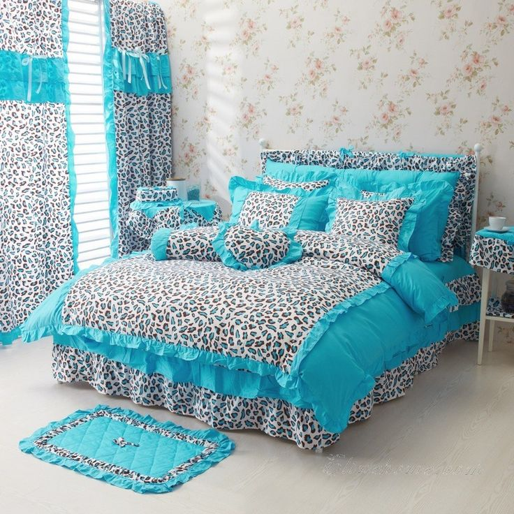 Blue Leopard Girls Bowtie Ruffle Bedding