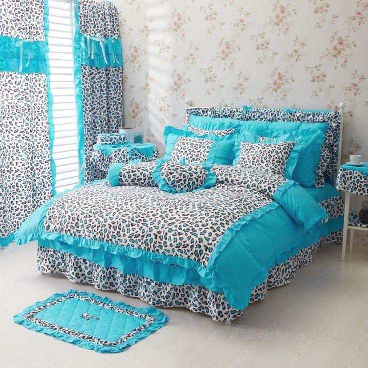 Blue Leopard Girls Bowtie Ruffle Bedding
