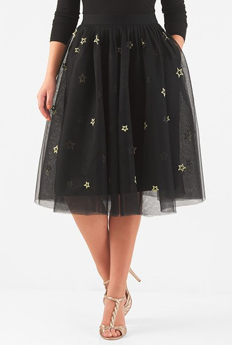 I <3 this Star embellished tulle skirt from eShakti
