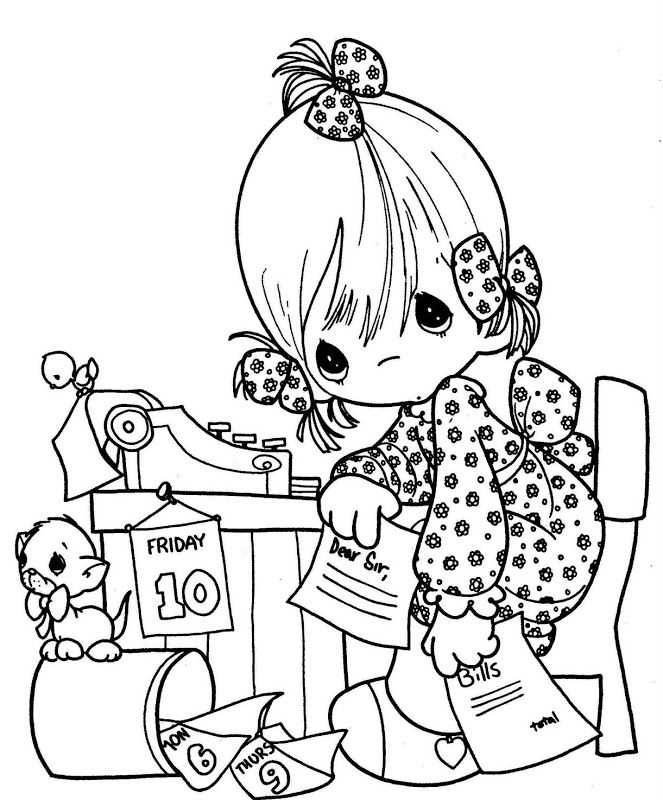 為孩子們的著色頁: Secretary day - precious moments coloring pages