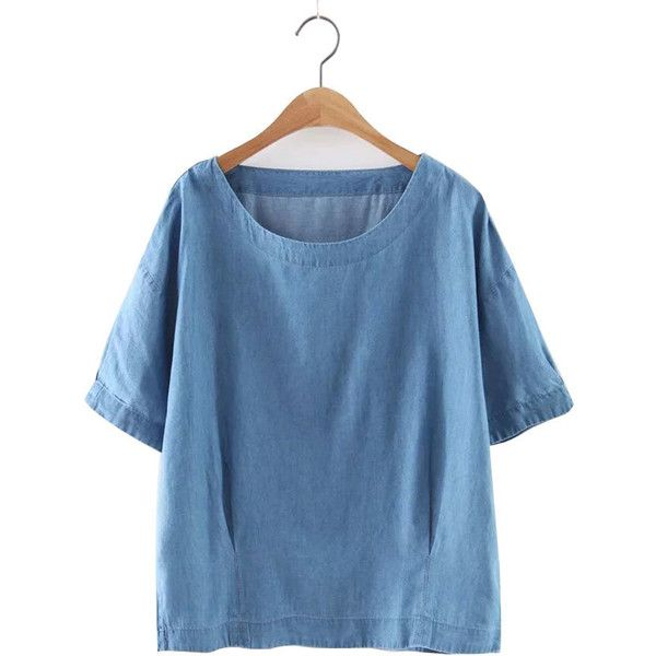 Casual Solid O-Neck Loose Short Sleeve Denim Shirts (6.926 KWD) ❤ liked on Polyvore featuring tops, light blue, loose summer tops, light blue shirt, blue top, light blue top and loose shirt