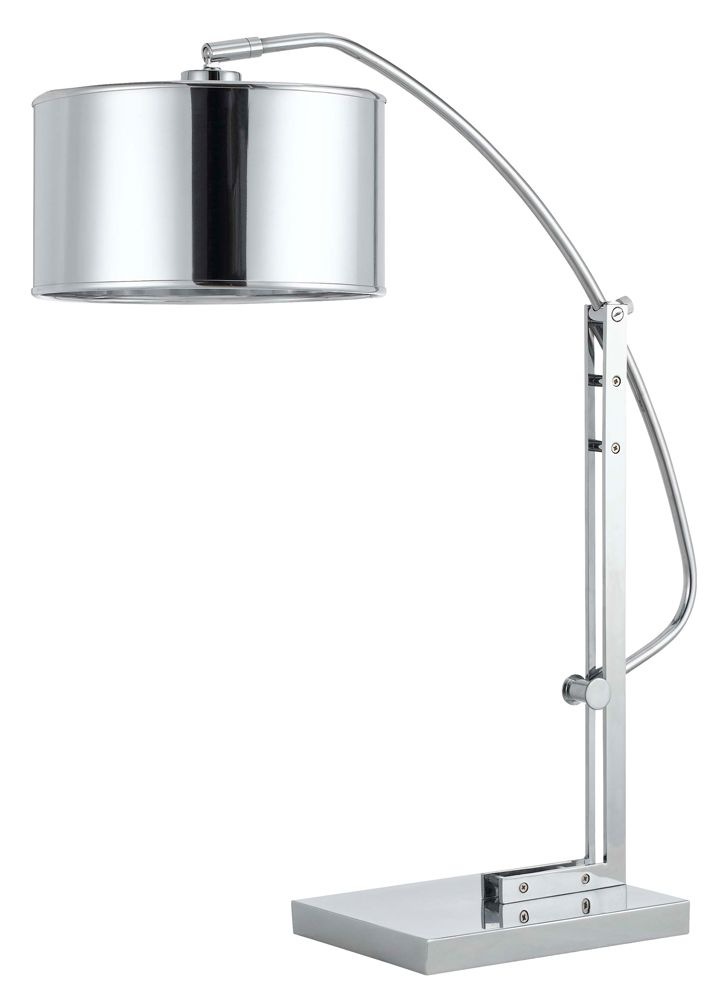 cal lighting houma metal arc 1 light table lamp in brushed steel finish with chrome pvc drum shade at coast lighting - Cal Lighting