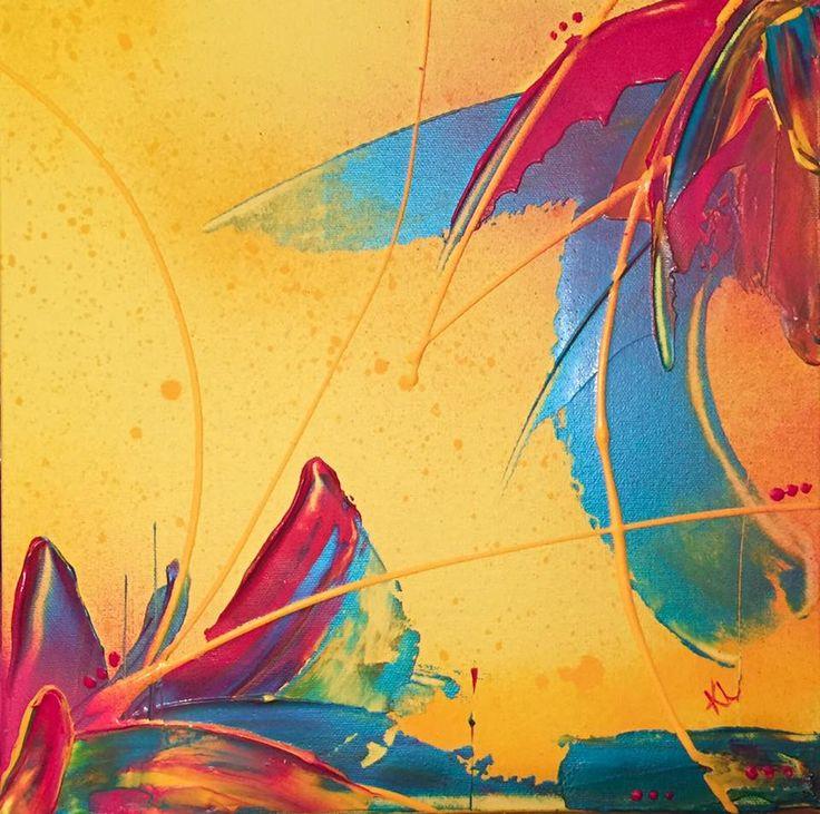 Éclosion Toile abstraite Acrylique sur toile de coton 12''x12'' Karolanne Leduc Artiste Suivez-moi sur facebook Karolanne Leduc Artiste